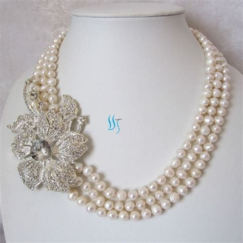 pearls jewelry pearl necklace pearl bridal necklace 20 23 inches by