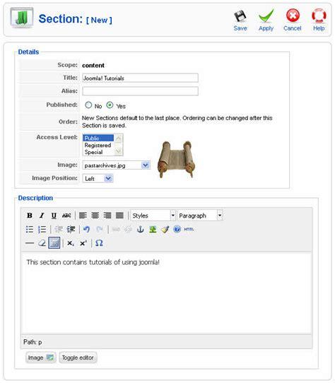 tutorial design joomla how to create a section in joomla 1 5 joomtut