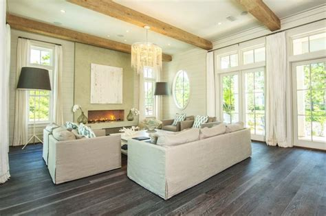 living room with wood floors linen sofa design ideas
