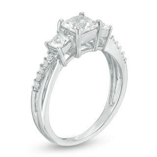 princess cut lab created white sapphire three ring