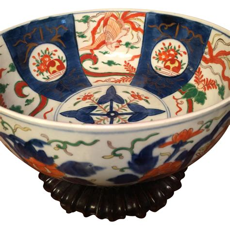 large punch bowl size japanese imari bowl c 1800s finely from antiquedesigns on ruby