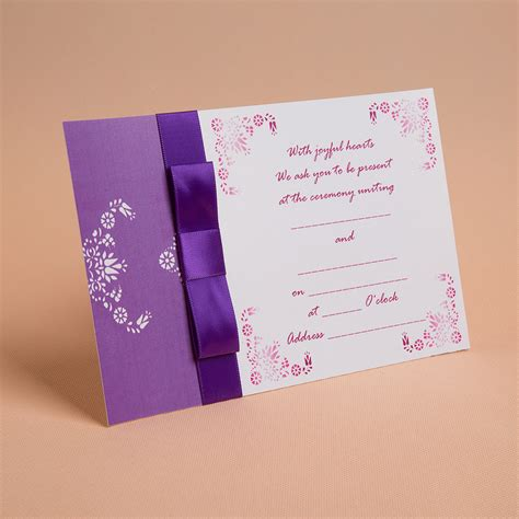 Flat Card Wedding Invitations by Classic Style Flat Card Invitation Cards With Ribbons Set