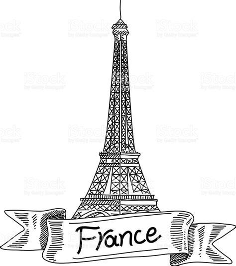 imagenes blanco y negro torre ifel torre eiffel francia el dibujo arte vectorial de stock y
