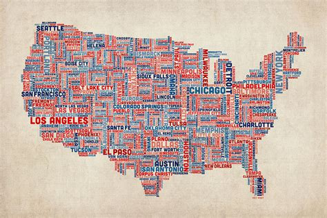 typography map united states typography text map digital by michael tompsett