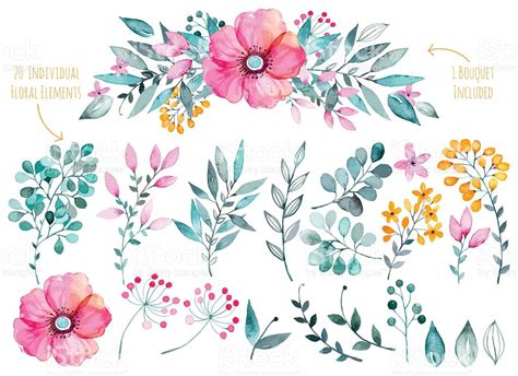 lush blooms floral watercolour collection books colorful purple floral collection with leaves and