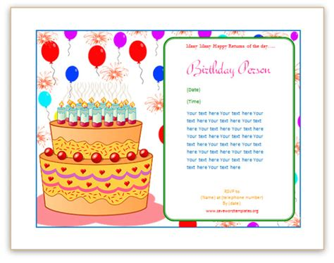 word templates for birthday cards birthday card template cyberuse
