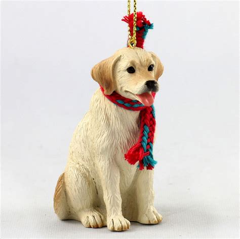 yellow labrador dog christmas ornament scarf figurine