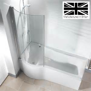galaxia 1700mm p shaped shower bath with screen amp panel