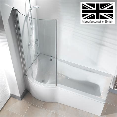 bath shower galaxia 1700mm p shaped shower bath with screen panel