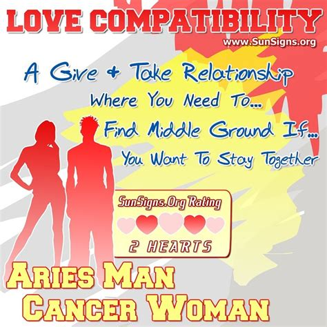 aries man and cancer woman love compatibility sun signs