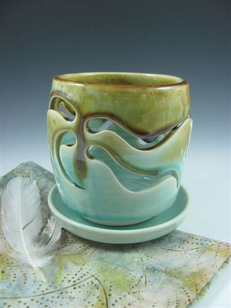 Handmade Ceramic Pots - orchid planter pot ceramic glazed in aqua blue and brown