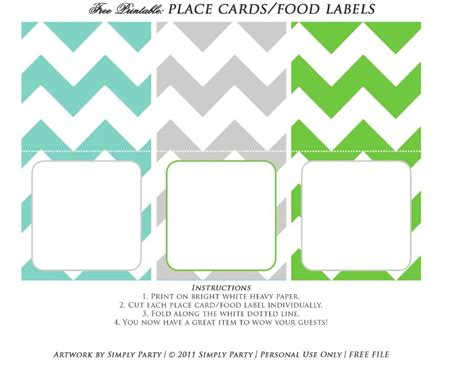 food card template free free printable place card food label scribd printables