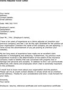 Cover Letter For Claims Adjuster by Claims Adjuster Cover Letter Lawyer S Information Portal