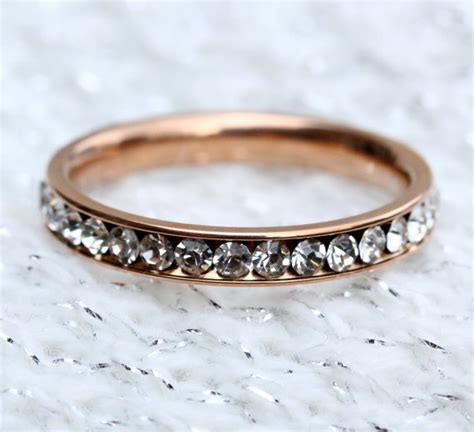 on sale 18ct rose gold filled full eternity ring with