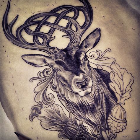 rose gold tattoo celtic stag celtic stag design by adam sky