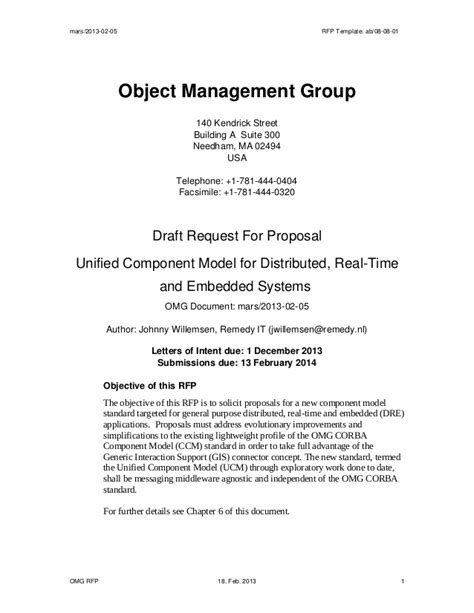 Draft Request For Proposal Unified Component Model For Distributed R Draft Rfp Template