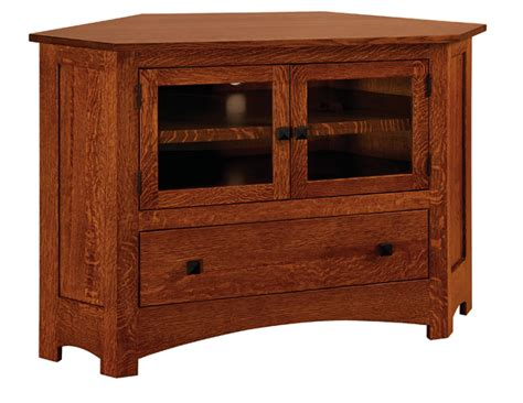 mission style corner tv cabinet mission 050c 49 quot corner tv stand amish furniture factory