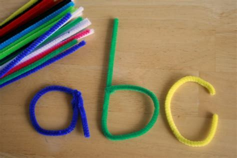 Halloween Sewing Crafts - learning letters with pipe cleaners make and takes