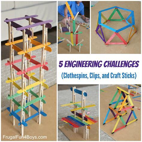 engineering challenges  clothespins binder clips  craft sticks