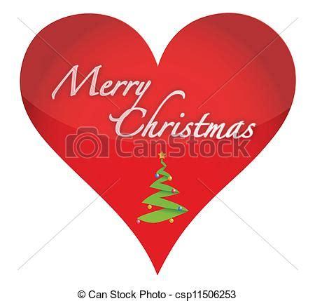 merry christmas heart illustration design  white