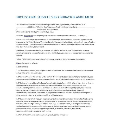 subcontractor agreements template need a subcontractor agreement 39 free templates here