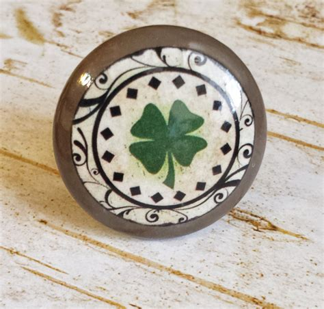 handmade shamrock knobs drawer pull green four leaf clover