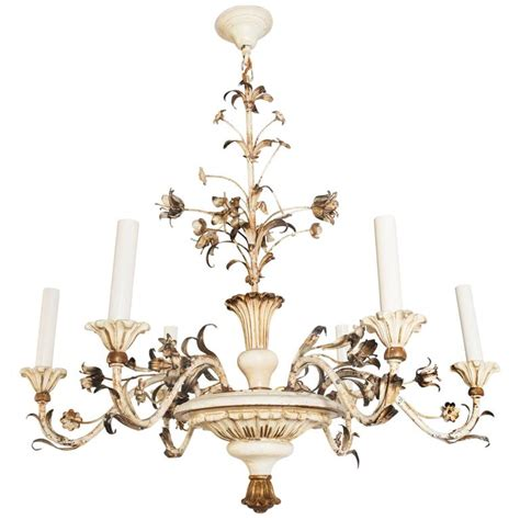White Painted Chandelier White Painted 20th Century Six Light Wooden Chandelier For Sale At 1stdibs