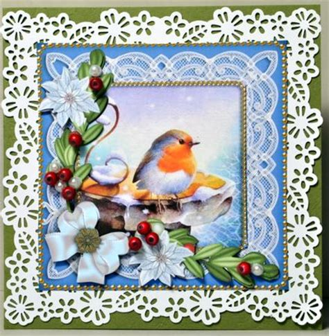 Decoupage Card - robin white poinsettia decoupage sheet