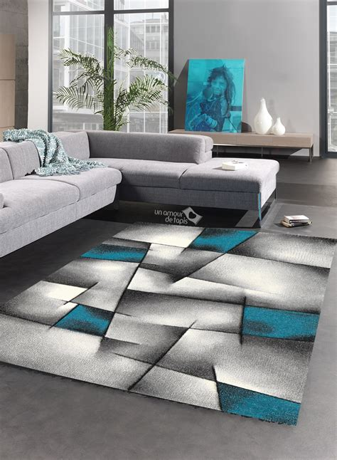 Tapis Dans Salon by Tapis Salon Design Brillance Ultimate Turquoise De La