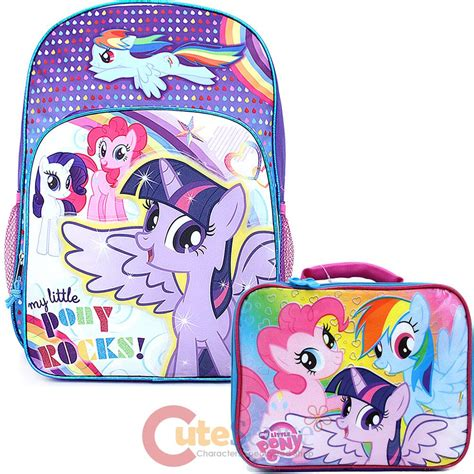 Set Pony Rok Bordir my pony 16 quot large school backpack with insulated lunch bag set pony rock ebay