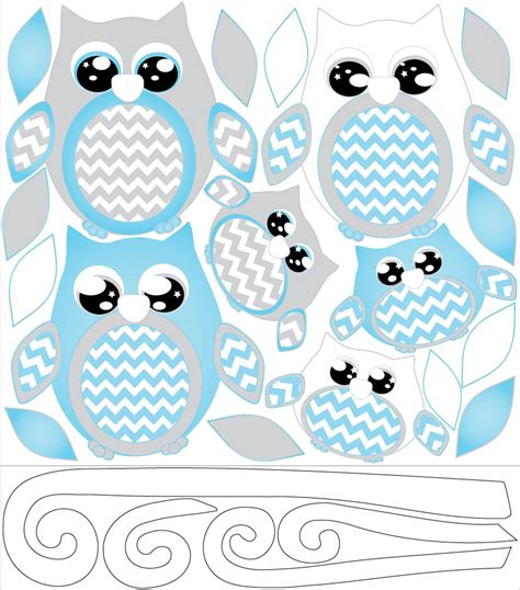 owls nursery decor blue owl wall decals owl stickers owl nursery wall decor