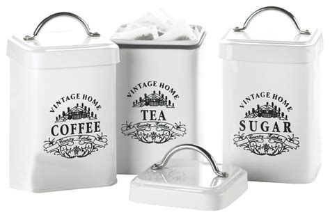 metal kitchen canister sets vintage home metal canisters white set of 3
