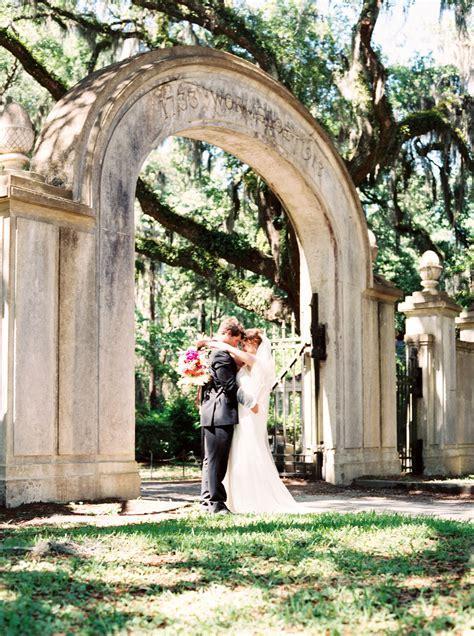Bride and groom at Wormsloe Historic Site in Savannah, GA