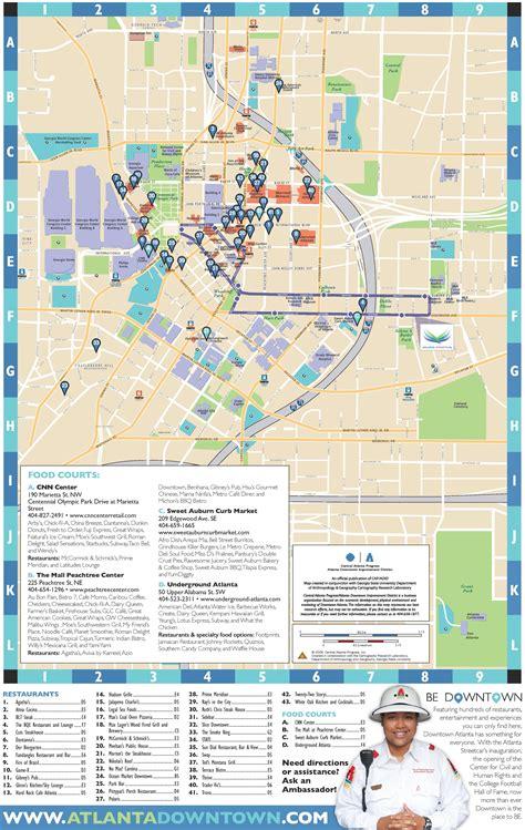 atlanta city usa map atlanta downtown restaurants map