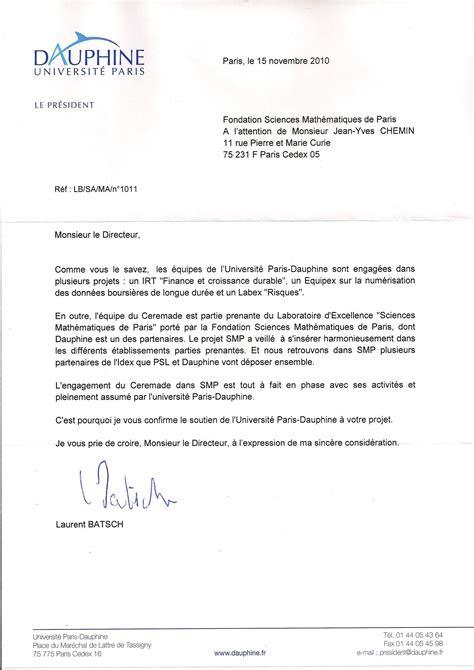 lettre de soutien candidature universite dauphine
