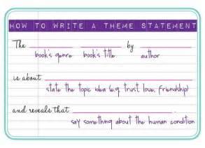 how to write a theme statement s corner