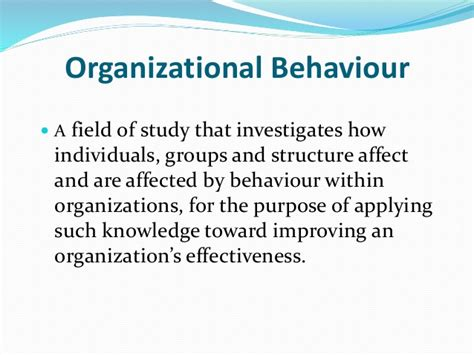 Organizational Behaviour Notes For Mba Students by Organizational Behaviour Nature Levels Of