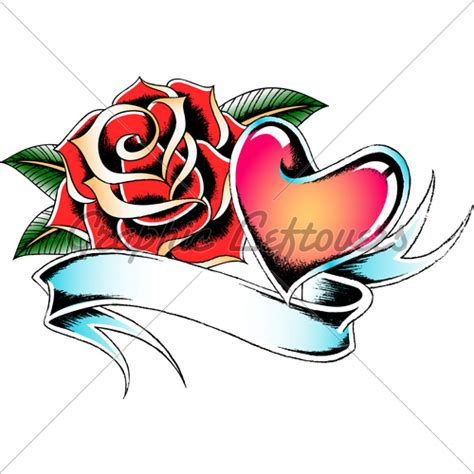 heart and rose tattoo design design tattooshunt