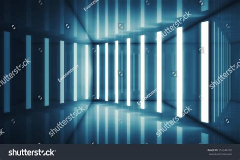 interior gleaming futuristic room with blue led lights also abstract blue room interior stripes neon stock