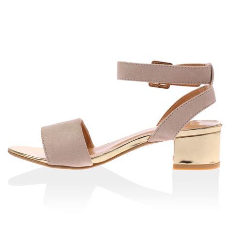 peep toe sandals low heel new womens strappy low heel summer peep toe
