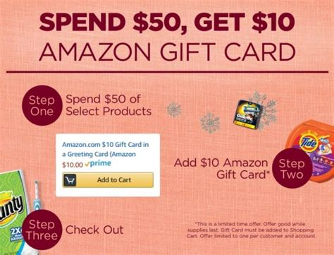 Get 10 Amazon Gift Card - get a 10 amazon gift card wyb 50 in p g products printable coupons deal