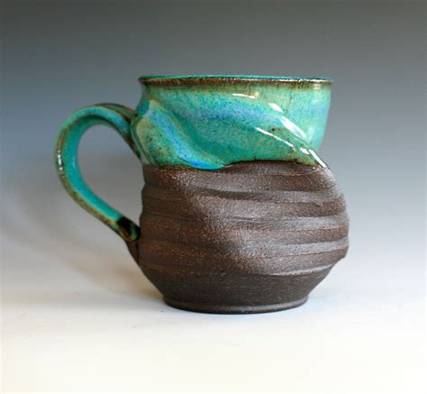 Handmade Clay - twisted coffee mug handmade ceramic cup ceramic stoneware