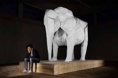 Origami Size - a size origami elephant folded from a single sheet of