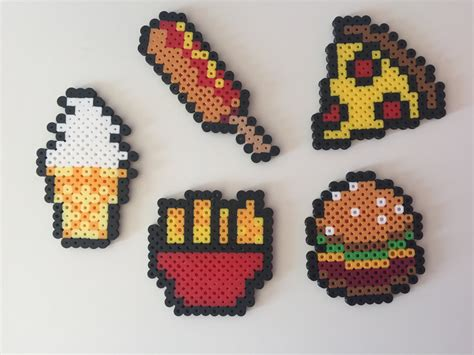 perler bead food fast food hamburger fries pizza corn perler