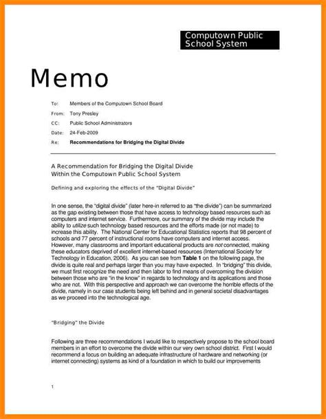 Memo Format In Email 6 Memo Exles To Students Resumed