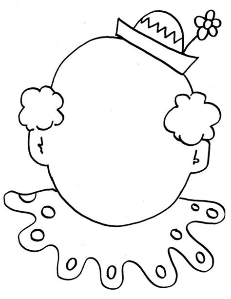 free coloring pages of blank clown faces