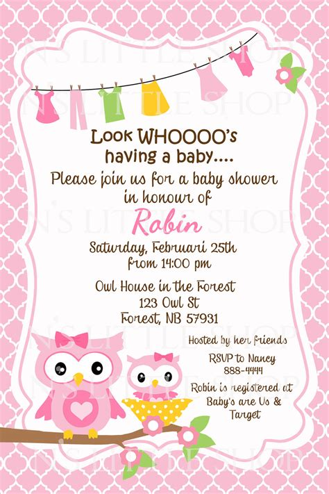 Baby Shower Invitation Card Wording pink owl baby shower invitation card customize by
