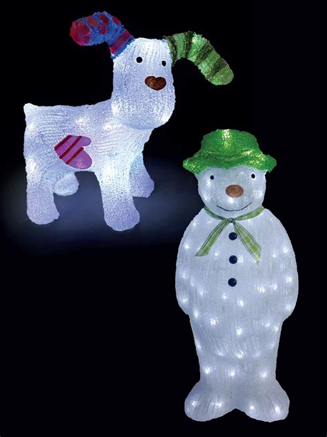 the snowman snowdog acrylic light up led outdoor garden