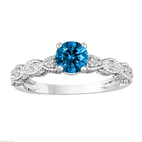 Fancy Blue Engagement Ring 14k White Gold Vintage Antique Style Engraved Unique 0 70 Fancy Blue Engagement Ring 0 60 Carat 14k White Gold