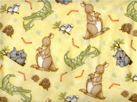 Sendal Cotton On Crocodile 5 and me fabric australian animals and babies kangaroo koala echidna crocodile kookaburra